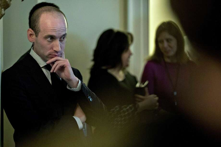Stephen Miller, White House senior advisor for policy, listens while President Donald Trump speaks during a meeting with bipartisan members of Congress on immigration in the White House on Tuesday. Miller has emerged as one of the top syncophants in the White House, a broad trait among administration aides that means the president doesn't get the unvarnished truth. Photo: Andrew Harrer /Bloomberg / © 2018 Bloomberg Finance LP