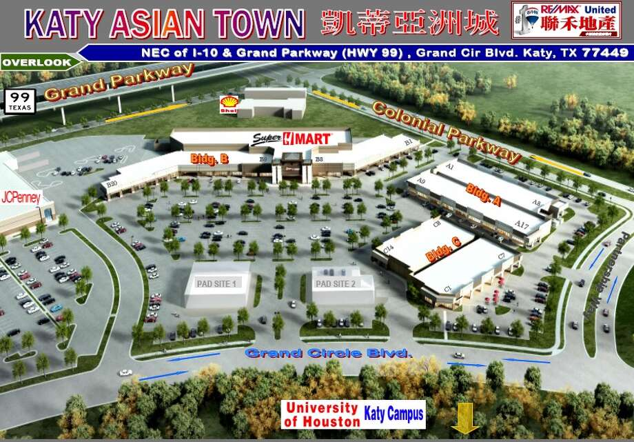 "Private developers are building ""Katy Asian Town"" at the northeast corner of the Grand Parkway and Interstate 10. The 15.5-acre center will be anchored by an H Mart, a popular Asian grocery store chain. Photo: RE/MAX United"