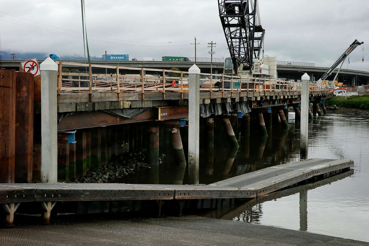 The Embarcadero Bridge construction site, Tuesday, Jan. 9, 2018, in Oakland, Calif. The bridge over the Lake Merritt Channel, between Oak Street and 5th Avenue, is being replaced by a new and seismically safer structure with enhanced pedestrian and bicycle access.