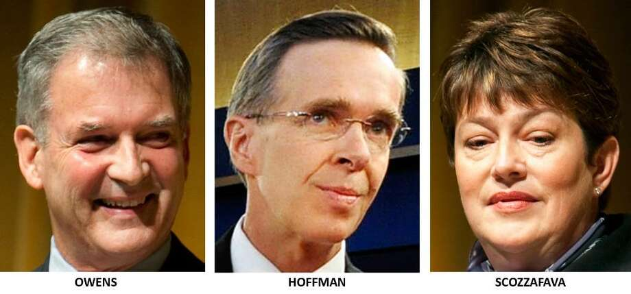Democrat Bill Owens, Conservative Party candidate Doug Hoffman and Republican Dede Scozzafava appear in a combined file photo.  Scozzafava has suspended her campaign for the 23rd Congressional District seat after leading Republicans from Sara Palin to former Gov. George Pataki, endorsed Hoffman. (AP Photo/File) / AP
