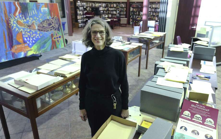 Archivist Mary Kenney oversees numerous documents and artifacts that are stored at the National Marianist Archive. St. Mary's University is now the site of the National Archives of the Marianist Province of the United States, a move reflective of the religious order's belief that the future of the Catholic Church is Hispanic, officials say. While the archive contains local Marianist history, it also reflects Marianist work across the United States and in other parts of the world. (Kin Man Hui/San Antonio Express-News) Photo: Kin Man Hui /San Antonio Express-News / ©2018 San Antonio Express-News