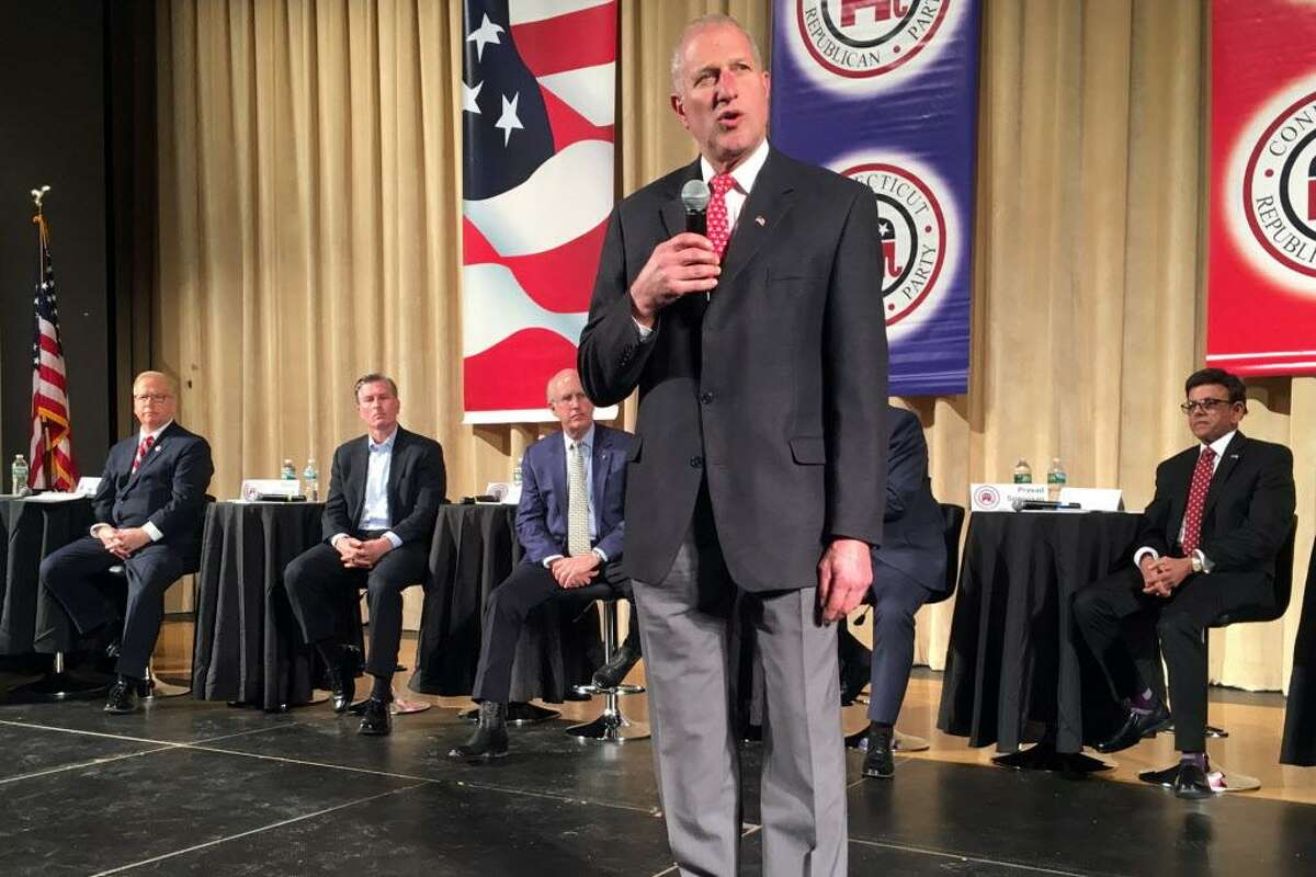 Shelton Mayor Mark Lauretti speaks during the Connecticut GOP Gubernatorial Debate held in Hebron, Conn. Jan. 10, 2018.