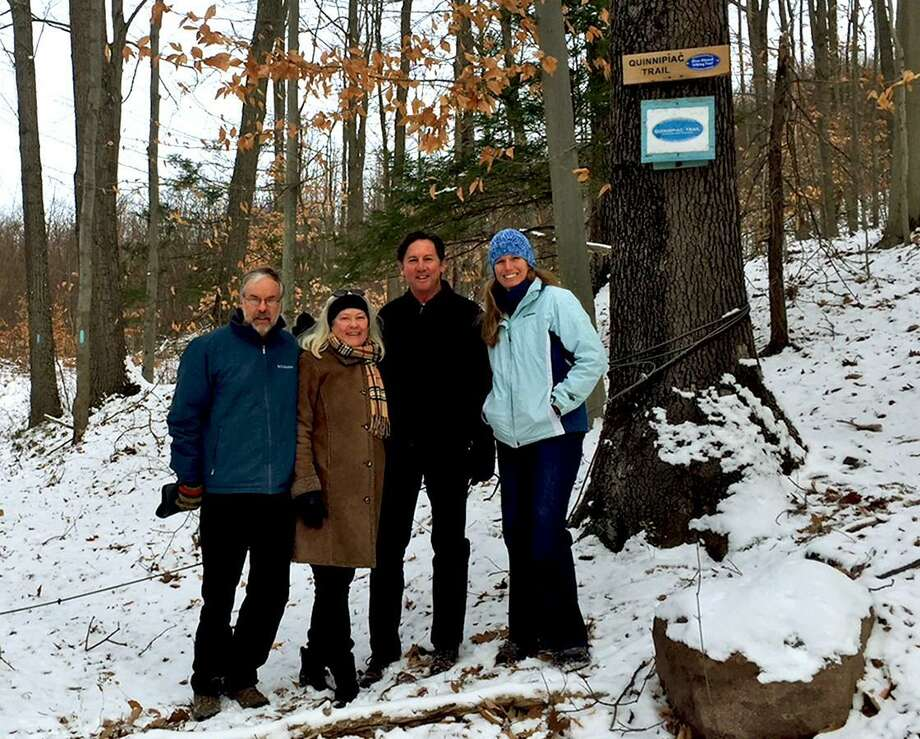 Hamden Land Conservation Trust President Jim Sirch, Rocky Top neighbors Roberta Mack and Tim Mack and Connecticut Forest and Park Association Land Conservation Director Lindsay Suhr Photo: Contributed Photo