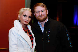 Miranda Daigle and Chance Ramour at comedian Rodney Carrington's performance at the Jefferson Theater on Friday evening.  Photo taken Friday 1/12/18 Ryan Pelham/The Enterprise