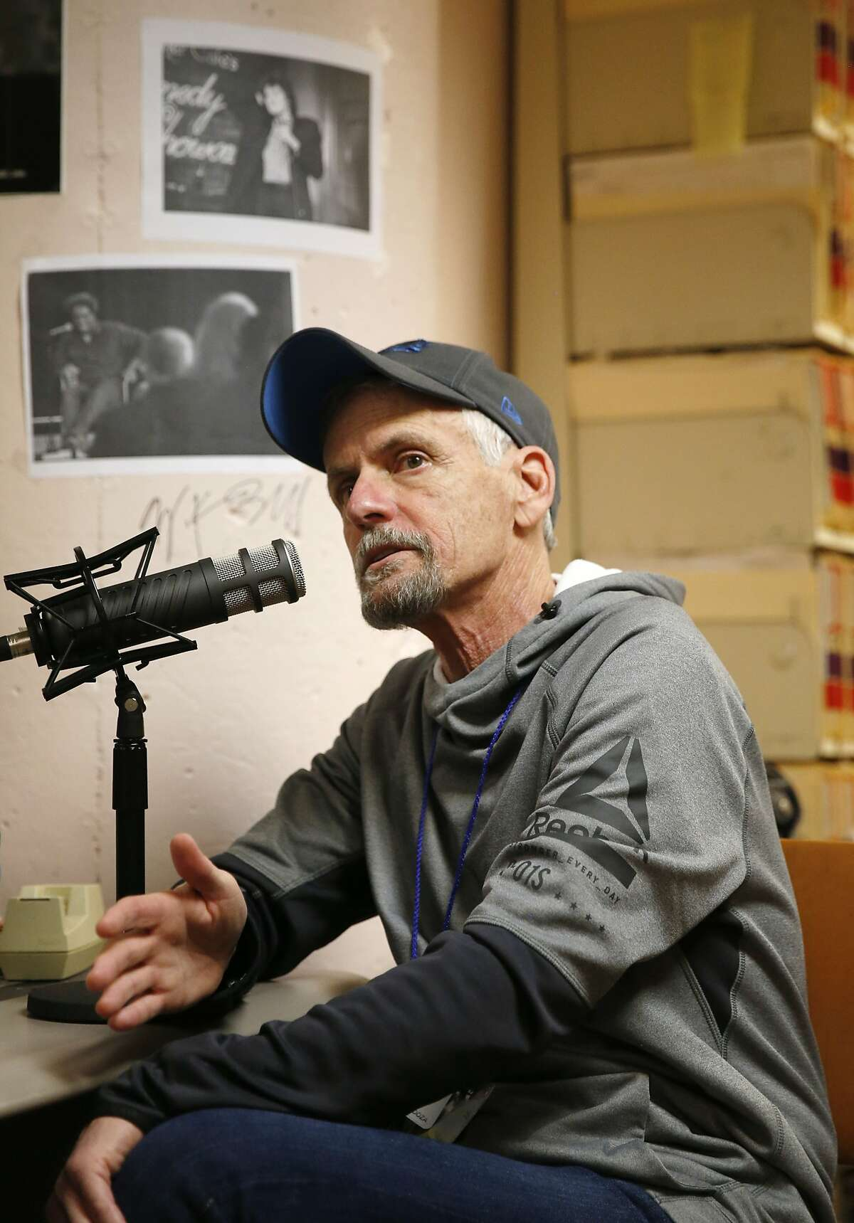 """Voice actor Rob Paulsen sits down to record """"The Big Event"""" podcast with Chronicle writers Peter Hartlaub and Mariecar Mendoza in the basement archive studio at the San Francisco Chronicle on Friday, Jan. 12, 2018 in San Francisco, Calif."""
