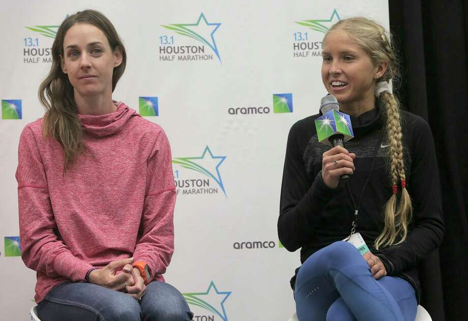 Molly Huddle, left, and Jordan Hasay say they will focus on competing during Sunday's Aramco Houston Half Marathon and that records are rarely broken when that goal is the focus of the runner. Photo: Elizabeth Conley, Chronicle / © 2018 Houston Chronicle