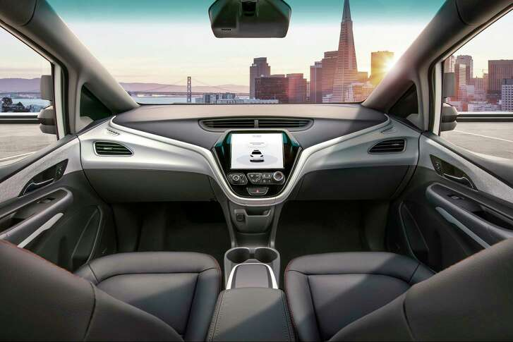 The four-passenger Cruise AV, with no steering wheel or pedals, is a version of the battery-powered Chevrolet Bolt.