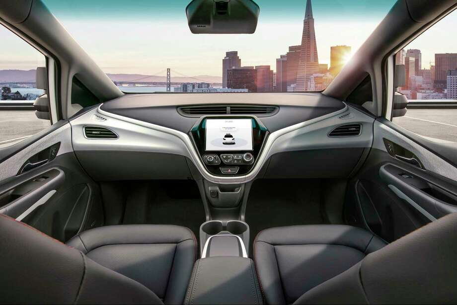 The four-passenger Cruise AV, with no steering wheel or pedals, is a version of the battery-powered Chevrolet Bolt. Photo: GM, HO / GM