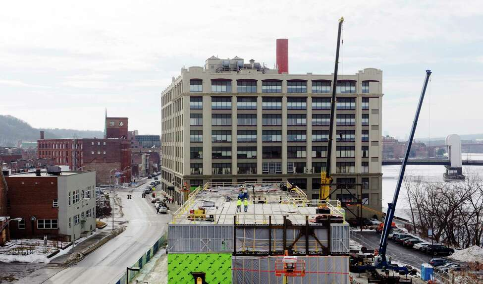 The Hedley Building, seen during the construction of the Courtyard by Marriott hotel on River Street on Thursday, Jan. 11, 2018, in Troy, N.Y. (Paul Buckowski/Times Union)