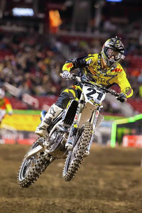 Jason Anderson, a rider for Rockstar Energy Husqvarna, is one of the contenders to finish atop the podium for the 450SX class of Saturday night's Monster Energy AMA Supercross event at NRG Stadium.