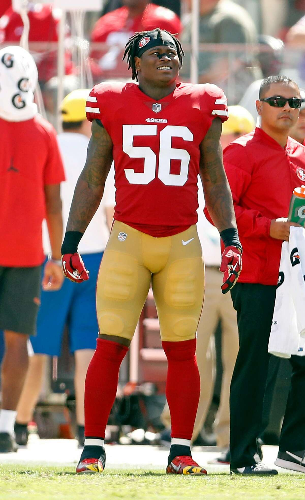 San Francisco 49ers' Reuben Foster watches the action in 3rd quarter of 23-3 loss to Carolina Panthers during NFL game at Levi's Stadium in Santa Clara, Calif., on Sunday, September 10, 2017.
