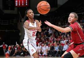 Stanford's Kiana Williams passes the ball during the Stanford and Washington State NCAA Pac-12 women's basketball game at Maples Pavilion in Stanford, Calif. on Friday January 12, 2018.