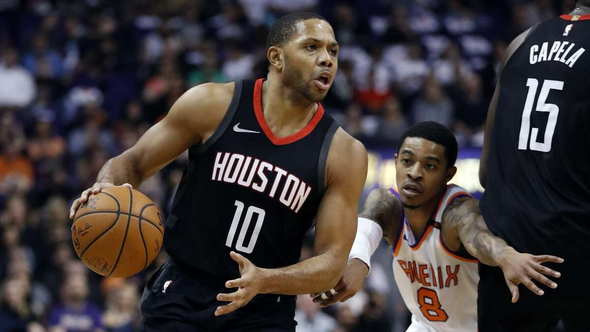 Houston Rockets guard Eric Gordon (10) looks to pass against the Phoenix Suns during the first half of an NBA basketball game, Friday, Jan. 12, 2018, in Phoenix. (AP Photo/Matt York)