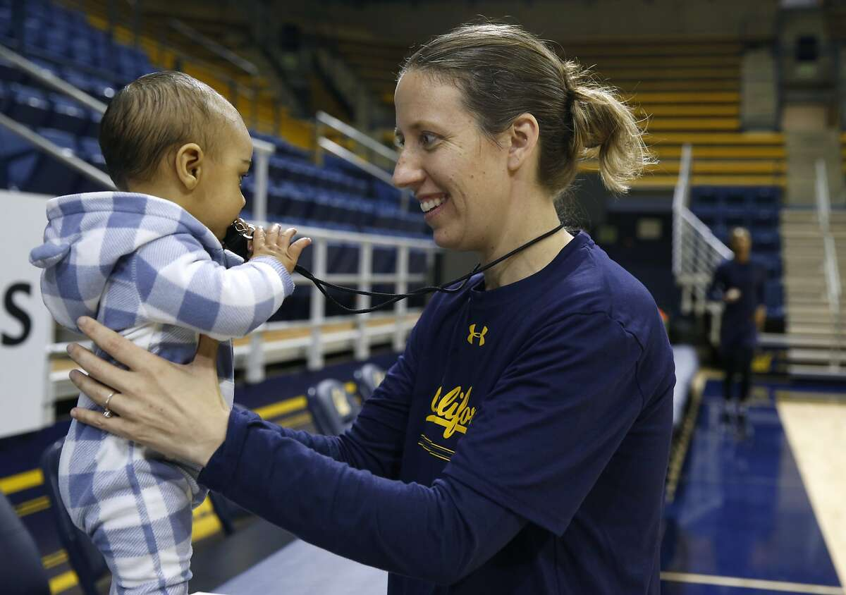 Head coach Lindsay Gottlieb brings her 6-month-old son Jordan to the Cal women's basketball practice at UC Berkeley on Wednesday, Nov. 29, 2017.