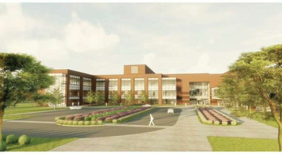 An artist's rendering of a 38,500-square-foot building addition for the Saginaw Valley State University College of Business and Management. (Image provided)