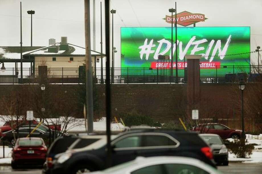 Dow Diamond's new 31-foot by 80-foot video board, as seen recently from outside the stadium, will be able to show replays of exciting plays during a game, as well as expanded statistics. (Katy Kildee/kkildee@mdn.net)