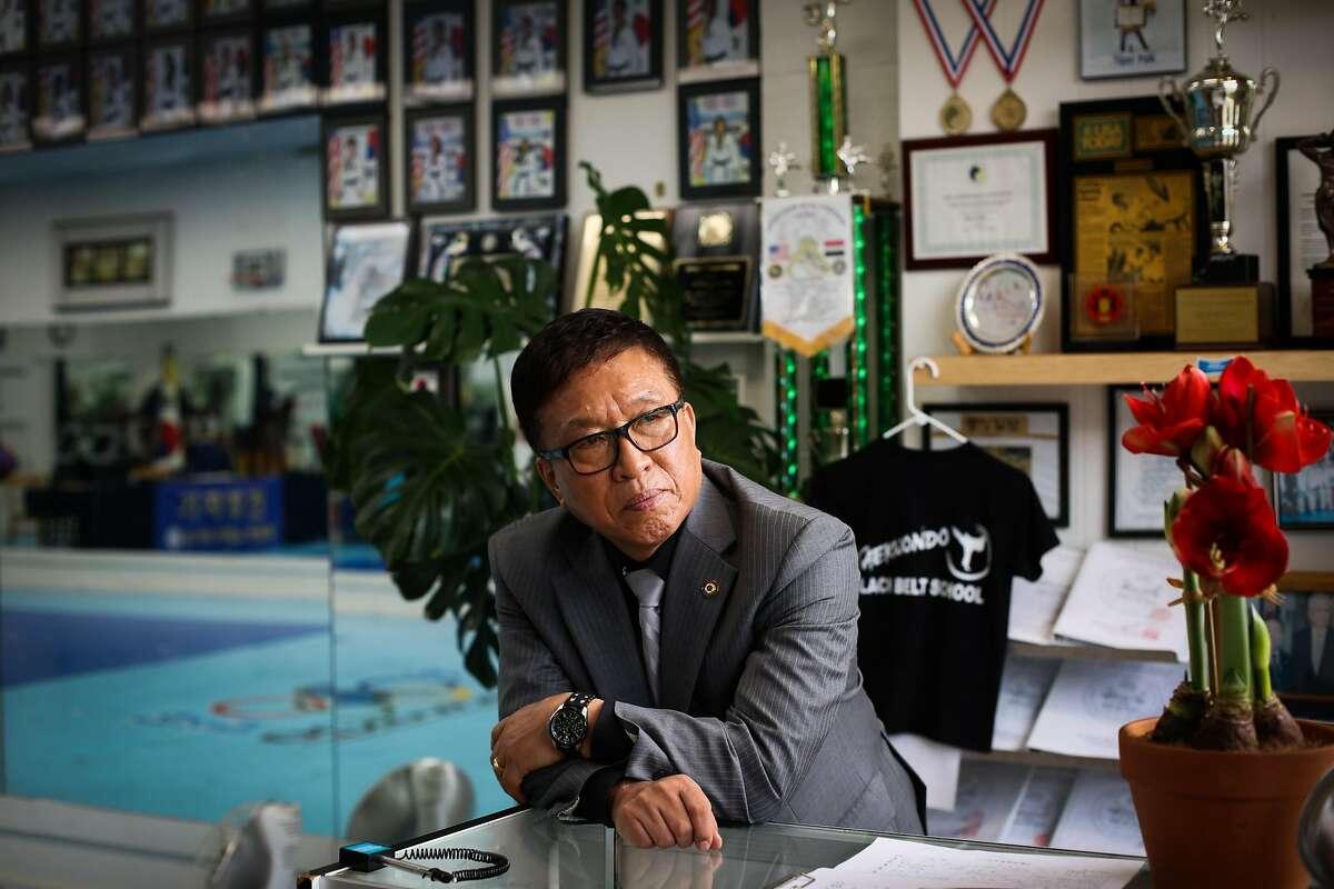 Paik Heang Ki poses for a portrait in his Taekwondo studio in Millbrea, Calif., on Tuesday, Jan. 9, 2018.