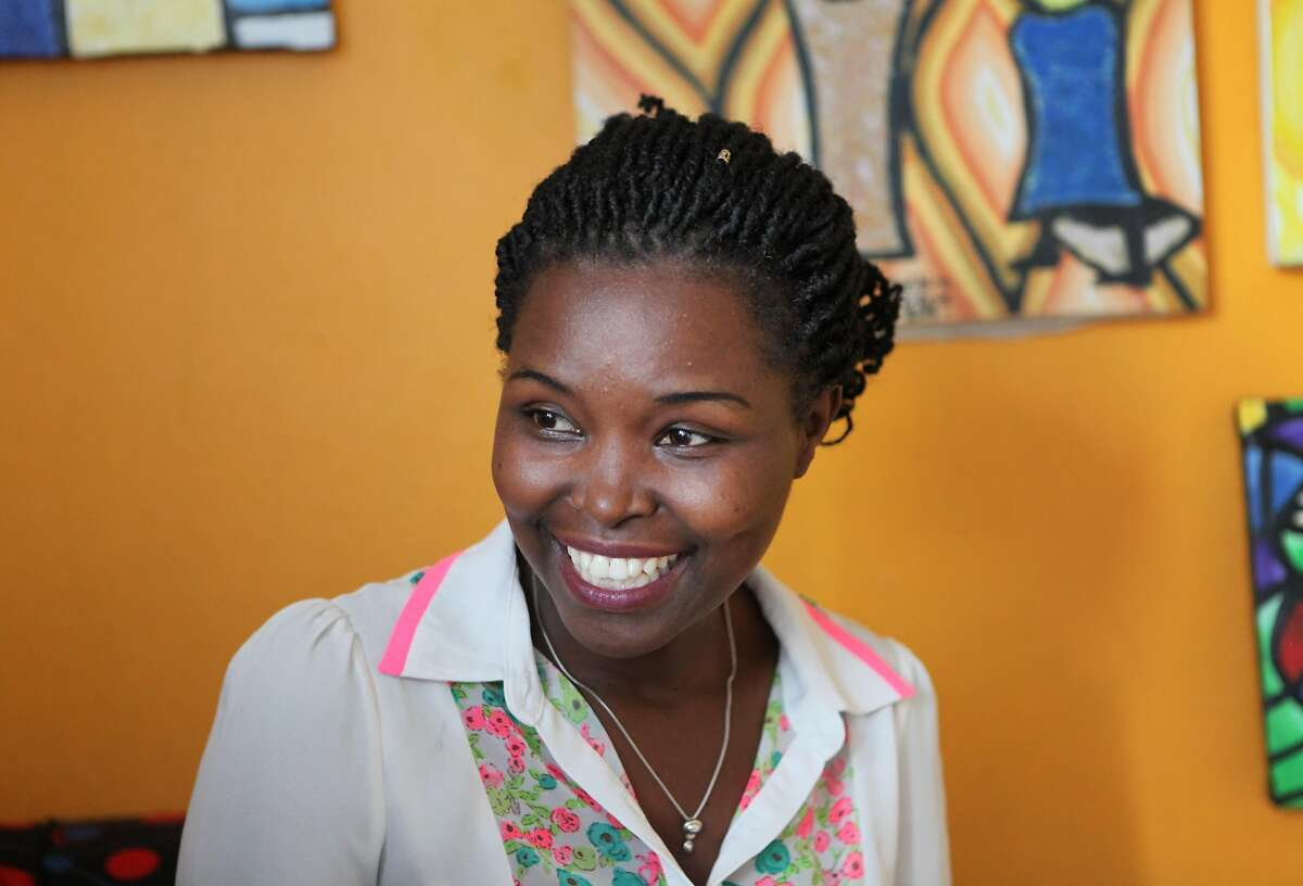 Rosine Mwiseneza, who was named Ms. Geek Rwanda in 2016 after winning a pitch competition for women for female entrepreneurs run by Girls in ICT, an organization that advocates for more women in Rwanda�s tech industry, laughs during an interview with the San Francisco Chronicle on Nov. 13, 2017, at the Inema Arts Center in Kigali. Mwiseneza often visits schools around the country to encourage girls to enter science and technology fields. As the winner of Ms. Geek, Mwiseneza won 2 million Rwandan Francs, about $3,000, a laptop, smart phone and tablet, as well as exposure to investors.