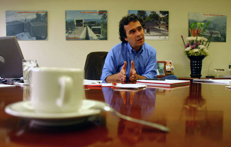 Colombian presidential candidate Sergio Fajardo in 2006. Photo: , Soeaks During An Interview In His Office On Tuesday, April 4, 2006. Photographer: Scott Dalton / Bloomberg