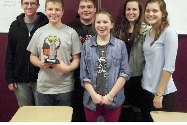 The Ubly Quiz Bowl team, which qualified to attend the state of Michigan 2018 High School State Championship tournament in April, consists of: Josh Brandel, Cole Messing, Brent Osentoski, Rebecca Particka, Macy Knoblock and Kelsey Knoblock. (Submitted Photo)