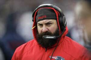 FILE - In this Dec. 31, 2017, file photo, New England Patriots defensive coordinator Matt Patricia watches from the sideline during the first half of an NFL football game against the New York Jets, in Foxborough, Mass. The New York Giants have interviewed New England Patriots defensive coordinator Matt Patricia for their vacant head coaching job. Patricia met with new general manager Dave Gettleman, Giants co-owner John Mara and assistant general manager Kevin Abrams on Friday, Jan. 5, 2018,  in Foxborough, Mass.(AP Photo/Charles Krupa, File)