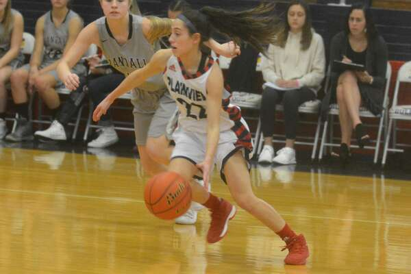 Plainview's Julissa Chavez dribbles past an opponent during a game earlier this week. The Lady Bulldogs lost to Canyon Friday night and finished the first half of their District 3-5A season with a 5-2 record.
