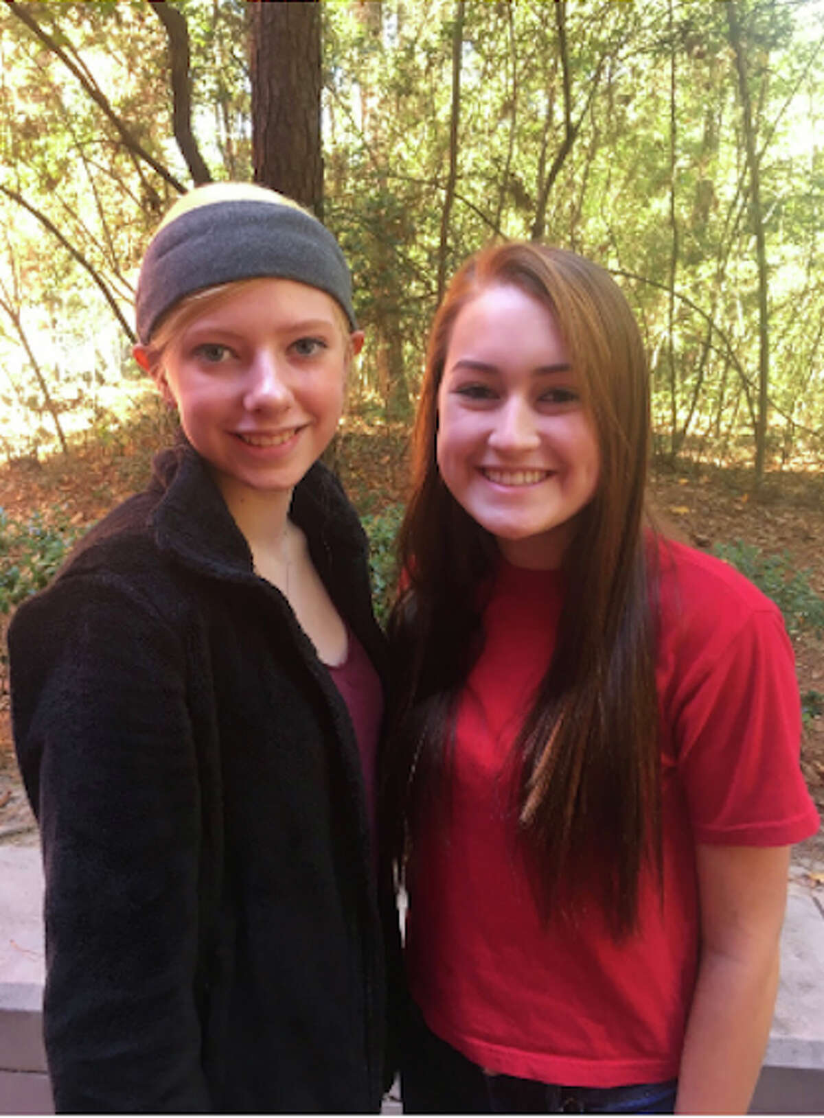 Courtney Brumley, left, andAvery Palacios, sophomores at iSchool High in The Woodlands, chose community awareness for their focus in theHealth Occupations Students of Americacompetition.