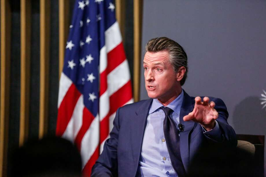 Both of the two Republicans onstage and two of the three other Democrats attacked early poll front-runner, Democrat Lt. Gov. Gavin Newsom. Photo: Amy Osborne, Special To The Chronicle