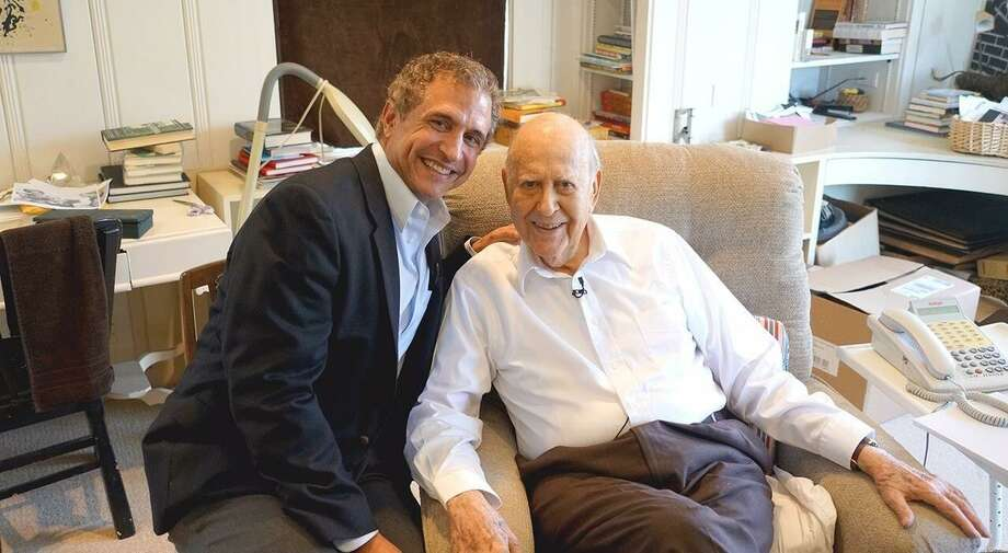 "Former KSAT-TV anchorman Tony Fama chats with iconic actor and comedian Carl Reiner at his Beverly Hills home for ""50PlusPrime."" The syndicated show he created about and for baby boomers has been picked up by cable network Pop TV. Photo: Courtesy Of Tony Fama /"