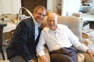 "Former KSAT-TV anchorman Tony Fama chats with iconic actor and comedian Carl Reiner at his Beverly Hills home for ""50PlusPrime."" The syndicated show he created about and for baby boomers has been picked up by cable network Pop TV."