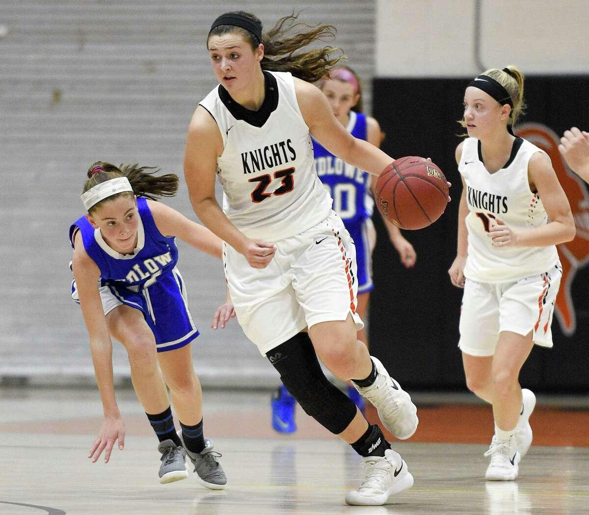 Alexa Kellner (23) Stamford defeated Fairfield Ludlowe 38-33 in a girls varsity basketball game at Stamford High School in Stamford, Conn. on Friday, Dec. 22, 2017.