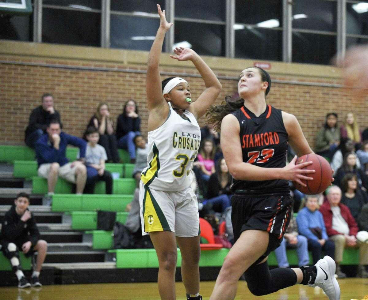 Alexa Kellner (23) Stamford defeated Trinity Catholic 50-44 in a FCIAC girls basketball game at Trinity Catholic High School in Stamford, Conn. on Dec. 19, 2017.