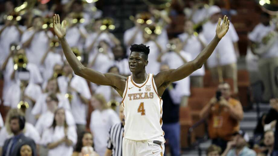 Texas forward Mohamed Bamba (4) celebrates during the second half of an NCAA college basketball game against TCU, Wednesday, Jan. 10, 2018, in Austin, Texas. Texas won in double overtime 99-98. (AP Photo/Eric Gay) Photo: Eric Gay/Associated Press