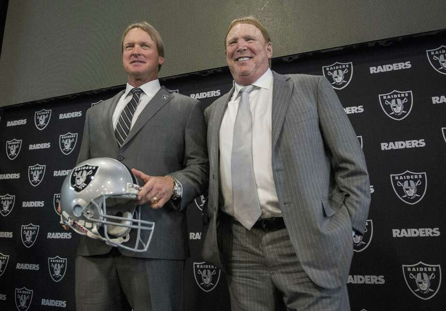 According to Register columnist Chip Malafronte, one of the benefits of Jon Gruden, left, returning to the Raiders to coach again, is the end of his time as an analyst on television. Photo: Hector Amezcua / Sacramento Bee / Sacramento Bee