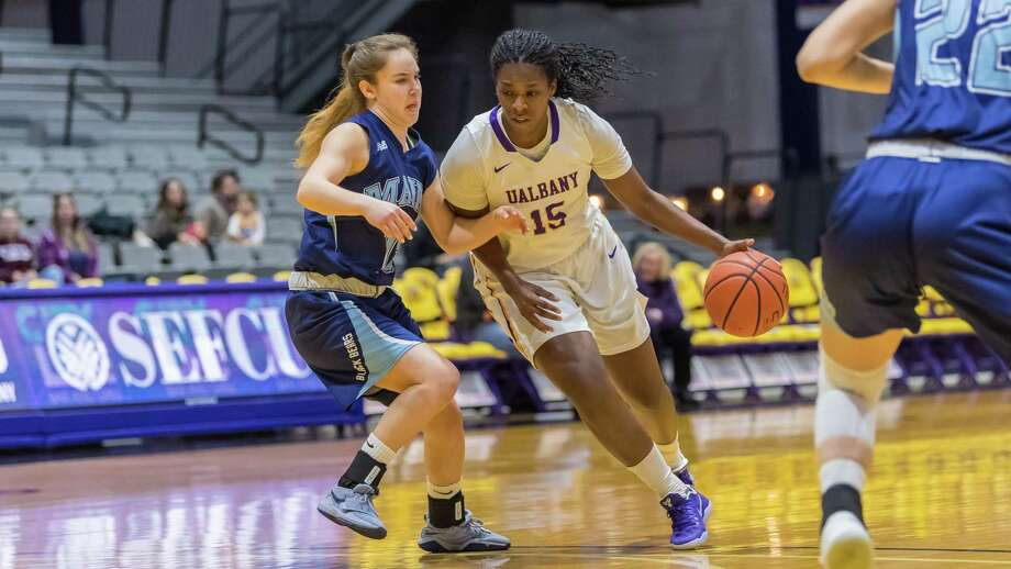 Jessica Fequiere of UAlbany drives to the basket during a 68-54 victory over Maine on Saturday, Jan. 13, 2018. (Bill Ziskin / UAlbany Athletics) Photo: Bill Ziskin / © Bill Ziskin Photography LLC
