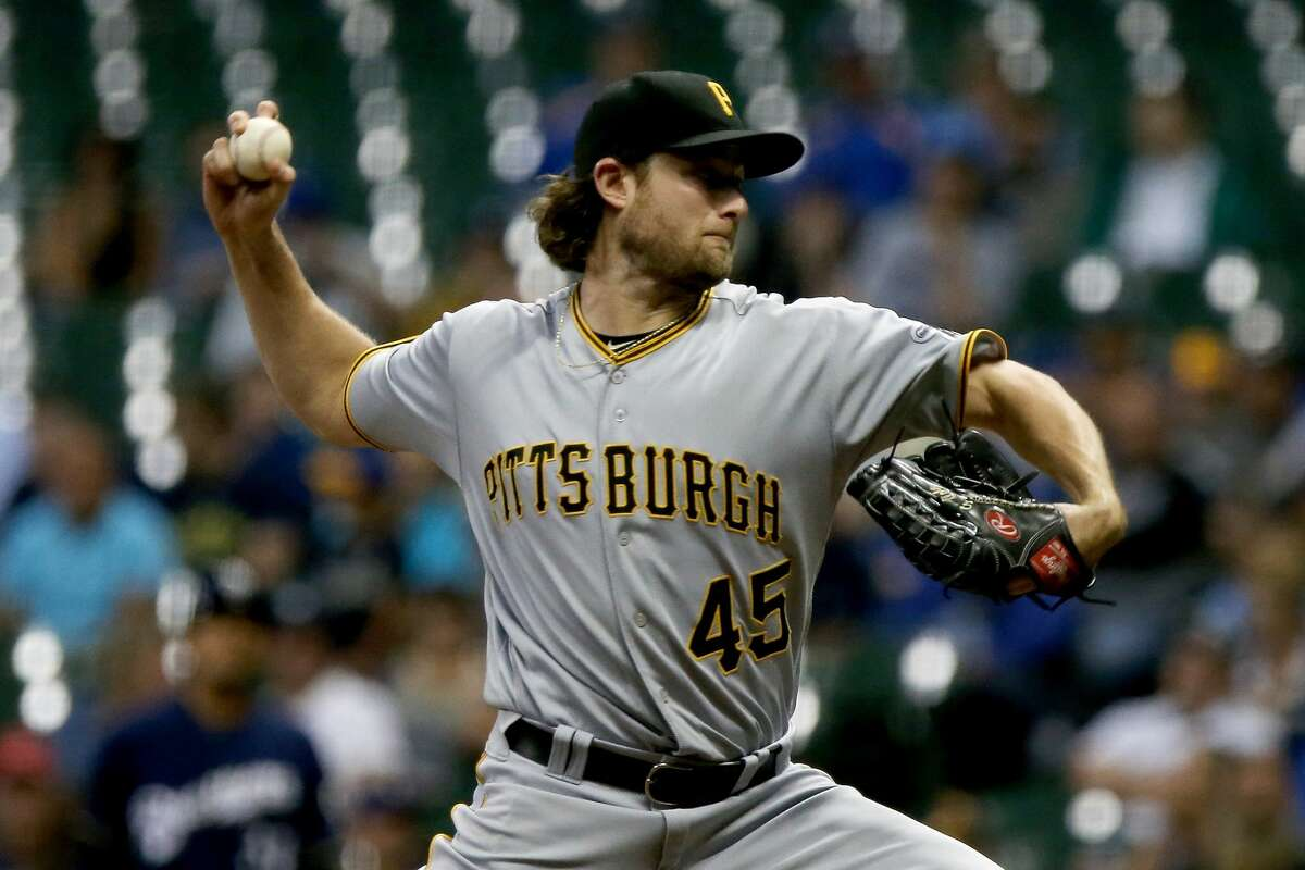 MILWAUKEE, WI - SEPTEMBER 12: Gerrit Cole #45 of the Pittsburgh Pirates pitches in the third inning against the Milwaukee Brewers at Miller Park on September 12, 2017 in Milwaukee, Wisconsin. (Photo by Dylan Buell/Getty Images)