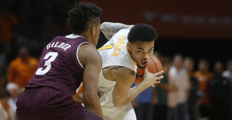 Tennessee guard Lamonté Turner (1) is defended by Texas A&M guard Admon Gilder (3) during the first half of an NCAA college basketball game Saturday, Jan. 13, 2018, in Knoxville, Tenn. (AP Photo/Crystal LoGiudice) Photo: Crystal LoGiudice/Associated Press