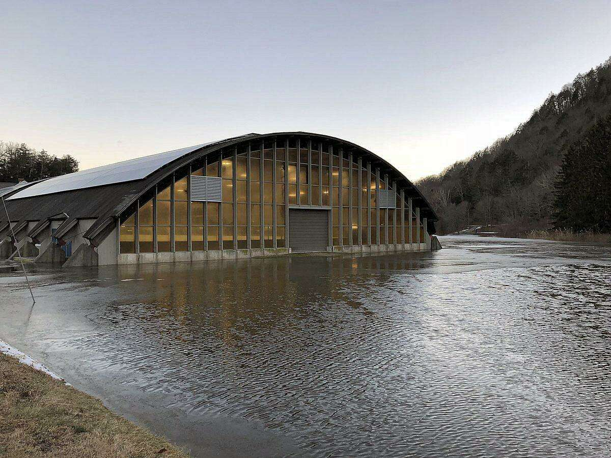 State Representative Brian Ohler (R-North Canaan) said the flooding on Jan. 13, 2018, in Kent, Conn., was caused by an ice jam. Shortly after 4:40 p.m., Ohler said the Kent School hockey rick was surrounded by rising flood waters from the Housatonic River.