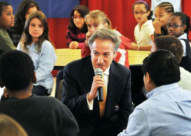 State Education Department Commissioner David Steiner talks at Albany?s Pine Hills Elementary School  Thursday after taking his oath of office.  (John Carl D?Annibale/Times Union) Photo: John Carl D'Annibale / 00005749A