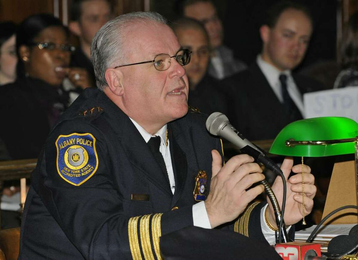 Police Chief James Tuffey explains to the Albany Common Council, under oath, why they didn't know hundreds of free parking permits were passed around the city's elite and connected during a meeting at City Hall in Albany, NY on March 30, 2009. (Lori Van Buren / Times Union)