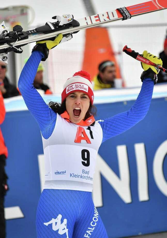 Italy's Federica Brignone celebrates winning the FIS Alpine World Cup Women Super G in Bad Kleinkirchheim, Austria on January 13, 2018. / AFP PHOTO / JOE KLAMARJOE KLAMAR/AFP/Getty Images Photo: JOE KLAMAR / AFP or licensors