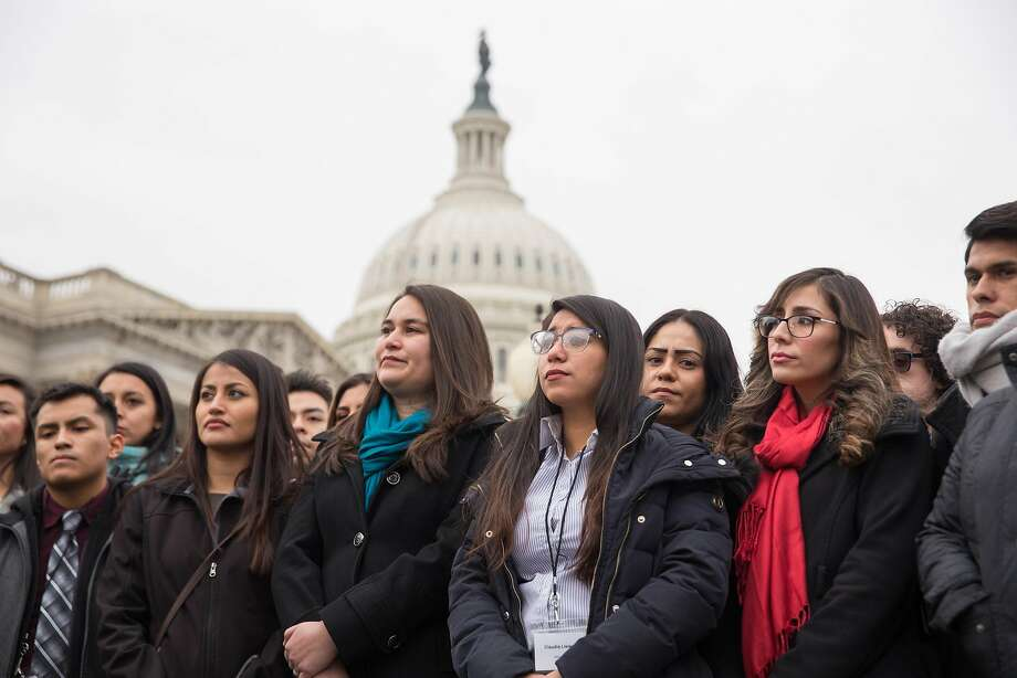 FILE Ñ A group of young undocumented immigrants known as Dreamers at a rally outside the U.S. Capitol in Washington, Jan. 10, 2018. Some Republican claims about the Deferred Action for Childhood Arrivals policy exacerbating Òchain migrationÓ have been overstated. (Erin Schaff/The New York Times) Photo: ERIN SCHAFF, NYT