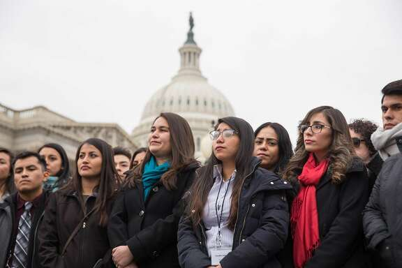 FILE Ñ A group of young undocumented immigrants known as Dreamers at a rally outside the U.S. Capitol in Washington, Jan. 10, 2018. Some Republican claims about the Deferred Action for Childhood Arrivals policy exacerbating Òchain migrationÓ have been overstated. (Erin Schaff/The New York Times)