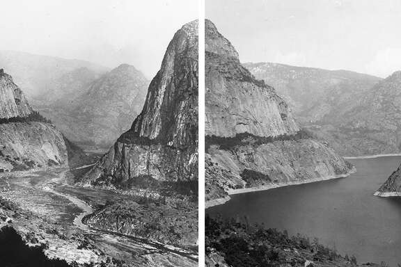 Hetch Hetchy Valley in 1917, left, before the construction of O'Shaughnessy Dam, and in 1933, right, after the area was flooded to create the reservoir.