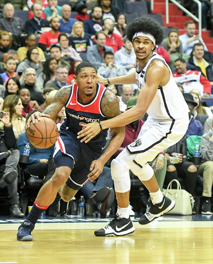 Washington guard Bradley Beal, left, drives along the baseline as Brooklyn center Jarrett Allen defends during their game at Capital One Arena in Washington, D.C. Must credit: Washington Post photo by Jonathan Newton Photo: Jonathan Newton, The Washington Post / The Washington Post
