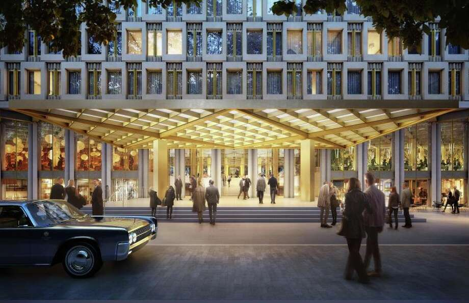 Rendering of the entryway to the new Rosewood Hotel on Grosvenor Square in London Photo: Qatari Diar