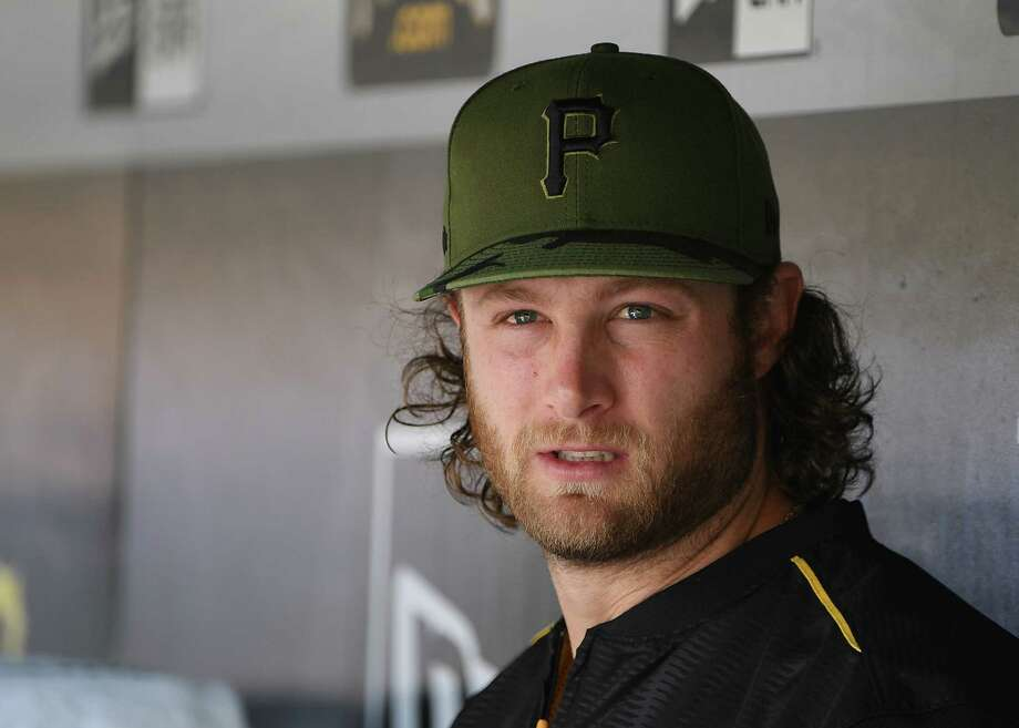 PITTSBURGH, PA - MAY 29:  Gerrit Cole #45 of the Pittsburgh Pirates looks on from the dugout in the first inning during the game against the Arizona Diamondbacks at PNC Park on May 29, 2017 in Pittsburgh, Pennsylvania. MLB players across the league are wearing special uniforms to commemorate Memorial Day. (Photo by Justin Berl/Getty Images) ORG XMIT: 700011007 Photo: Justin Berl / 2017 Getty Images