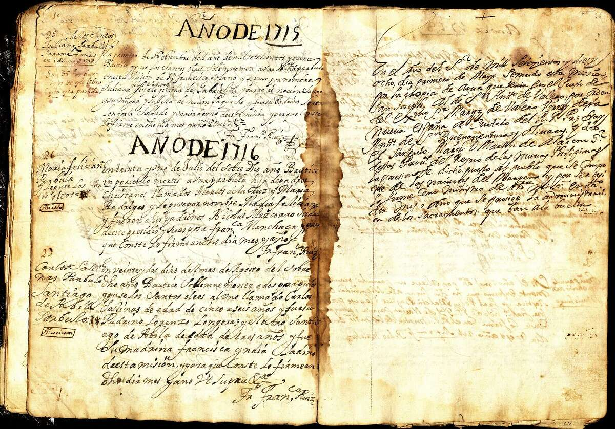 """This is the one of San Antonio's oldest documents in which Fray Antonio de San Buenaventura y Olivares founded the Mission San Antonio de Valero for the Marques de Valero. It's also known as the city's """"holy grail."""" The mission was originally located west of San Pedro Springs."""