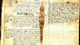 "This is the one of San Antonio's oldest documents in which Fray Antonio de San Buenaventura y Olivares founded the Mission San Antonio de Valero for the Marques de Valero. It's also known as the city's ""holy grail."" The mission was originally located west of San Pedro Springs."