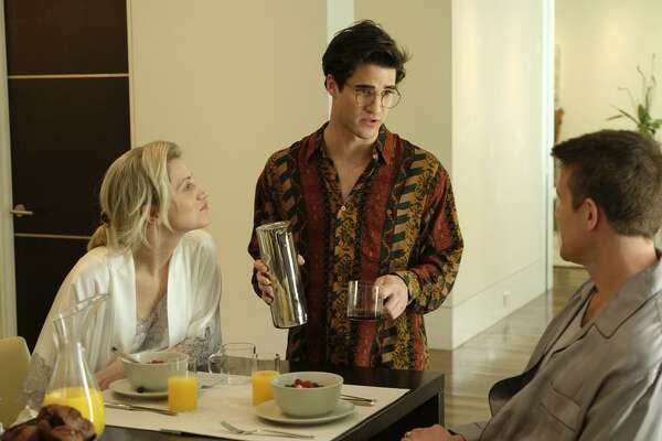 "Far left: Darren Criss in SHN's revival of ""Hedwig and the Angry Inch,"" which opened in in 2016.   Left: Annaleigh Ashford (left), Darren Criss and Nico Evers- Swindell in the FX miniseries ""The Assassination of Gianni Versace: American Crime Story,"" which is told in a reverse chronology."